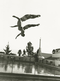 Synchronized Divers in Mid-Air Photographic Print by Everett Collection