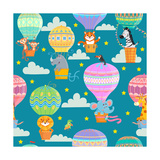 Seamless Pattern with Colorful Hot Air Balloons and Animals. Vector Illustration. Photographic Print by  oreshcka