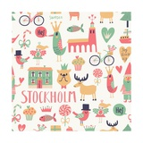 Stockholm Concept Seamless Pattern in Vector. House, Church, Gnome, Birds, Moose, Bicycle, Horse An Photographic Print by  smilewithjul
