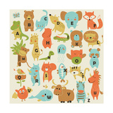 Zoo Alphabet with Cute Animals in Cartoon Style. Photographic Print by Kaliaha Volha