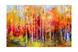 Oil Painting Landscape, Colorful Autumn Trees. Semi Abstract Paintings Image of Forest, Aspen Tree Photographic Print by  pluie_r