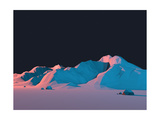 Low-Poly Mountain Landscape at Night with Stars Photographic Print by Mark Kirkpatrick