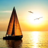 Yacht Sailing against Sunset. Holiday Lifestyle Landscape with Skyline Sailboat and Two Seagull. Ya Photographic Print by Repina Valeriya