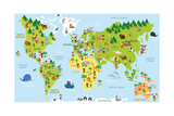 Funny Cartoon World Map with Children of Different Nationalities, Animals and Monuments of All the Fotografisk tryk af  asantosg