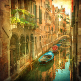 Vintage Image of Venetian Canals Photographic Print by  javarman