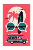 Vector Modern Flat Wall Art Poster Design on Hot Summer Vacation, Beach Recreation, Water Activitie Photographic Print by Mascha Tace