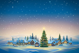 Winter Festive Landscape with Village and Christmas Trees. Raster Illustration. Photographic Print by  Rustic