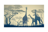 Horizontal Vector Illustration of Wild Giraffes in African Savanna with Trees. Photographic Print by  Vertyr