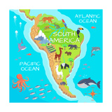 South America Mainland Cartoon Map with Fauna Species. Cute American Animals Flat Vector. Amazonian Fotoprint van  robuart