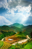 Rice Fields on Terraced of Mu Cang Chai, Yenbai, Vietnam. Rice Fields Prepare the Harvest at Northw Photographic Print by John Bill