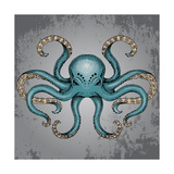 Blue Octopus with Grunge Background in Dotwork Tattoo Style Vector Illustration. Fotoprint van Maria Sem