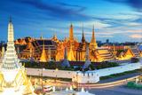 Grand Palace and Wat Phra Keaw at Sunset Bangkok, Thailand. Beautiful Landmark of Thailand. Temple Photographic Print by  SOUTHERNTraveler