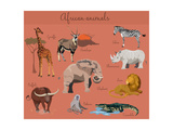 Wild African Animals Set with Nature Elements. Photographic Print by Lemberg Vector studio