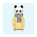 Panda Dressed up in Jacquard Pullover, Anthropomorphic Illustration, Fashion Animals Photographic Print by  Olga_Angelloz