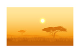 African Landscape with Tree Silhouette. Savanna Sunset Background. Photographic Print by Vlad Rudniy