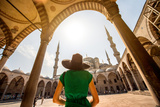Young Woman Traveler in Black Hat and Green Dress Looking on Amazing Blue Mosque in Istanbul, Turke Photographic Print by  RossHelen