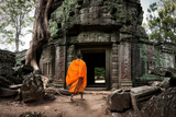 Angkor Wat Monk. Ta Prohm Khmer Ancient Buddhist Temple in Jungle Forest. Famous Landmark, Place Of Photographic Print by Banana Republic images