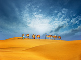 Dubai Desert Camel Safari. Arab Culture, Tradition and Tourism Landscape. Arabian People Traveling Photographic Print by Banana Republic images