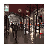 Illustration of a Boulevard in Paris at Night Photographic Print by  isaxar