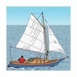 Vector Wooden Yacht with a Captain on the Steering Wheel in the Sea against the Blue Sky Photographic Print by  kavalenkau