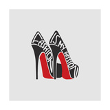 Fashion is My Passion. Typography Vintage Poster. Shoes Isolated on White Background. Vintage Illus Photographic Print by  VVN