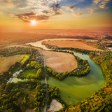 Beautiful Sunset over Czech Valley Reservoir in the Litice Suburban District of Pilsen. Aerial View Photographic Print by  Kletr