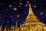Shwedagon Pagoda with Larntern in the Sky, Yangon Myanmar Photographic Print by  Krunja