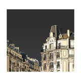 Vector Illustration of Facades in Paris in a Stormy Weather Photographic Print by  isaxar