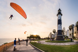 Paragliding in Miraflores, Peru. Photographic Print by Christian Vinces
