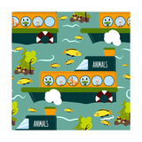 Seamless Cute Animal Wild Forest on the Ship Texture Design. Cartoon Style. Vector Illustration Photographic Print by Alena Dubinets