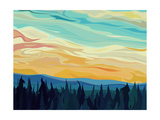 Vector Abstract Illustration Background: Clouds and Hills of Coniferous Forest against Sunset Sky. Photographic Print by  Vertyr