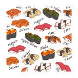 Background Sushi Set, Vector Photographic Print by  wanpatsorn