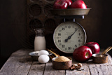 Baking Ingredients on Rustic Table Apples, Eggs and Sugar Photographic Print by Elena Veselova
