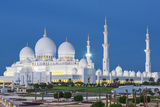 View of Famous Abu Dhabi Sheikh Zayed Mosque by Night, Uae. Photographic Print by prochasson frederic