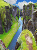 The Most Picturesque Canyon Fjadrargljufur and the Shallow Creek, Which Flows along the Bottom of T Photographic Print by  kavram