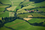 Small Bavarian Village in a Fields, Germany. Pseudo Tilt Shift Effect Photographic Print by Dudarev Mikhail