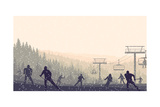 Horizontal Vector Illustration Skiers in Hills of Coniferous Forest at Snowfall Sunset. Photographic Print by  Vertyr