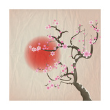 Bough of a Cherry Blossom Tree against Red Sun. Crumpled Paper Vintage Effect. Eps10 Vector Format. Photographic Print by Jane Rix