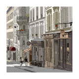 Vector Illustration of a Street in Montmartre Paris Photographic Print by  isaxar