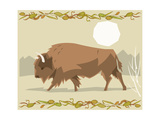 Bison in a Decorative Illustration Photographic Print by  Artistan