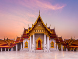 The Famous Marble Temple Benchamabophit from Bangkok, Thailand Photographic Print by  Pumidol