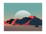 Low-Poly Mountain Landscape at Dusk with Moon Photographic Print by Mark Kirkpatrick