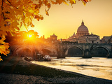 View at Tiber and St. Peter's Cathedral in Rome Photographic Print by  S Borisov