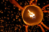 Floating Lantern, Yi Peng,Firework Festival in Chiangmai Thailand Photographic Print by Patrick Foto