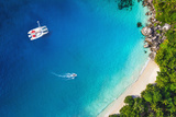 Amazing View to Yacht in Bay with Beach - Drone View. Birds Eye Angle Photographic Print by  IM_photo