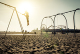 Santa Monica Beach. Silhouette of a Woman Going up with the Swing. Concept about Traveling,United S Photographic Print by  Oneinchpunch