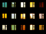 Windows at Night. House Building Lights Seamless Background Photographic Print by  pzAxe