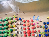 Top View of Umbrellas in a Beach Photographic Print by Gustavo Frazao