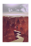 Man Standing on Rock Path Looking at the Buried City,Illustration Painting Photographic Print by Tithi Luadthong