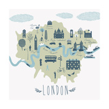 Map of London Attractions Photographic Print by  Lavandaart